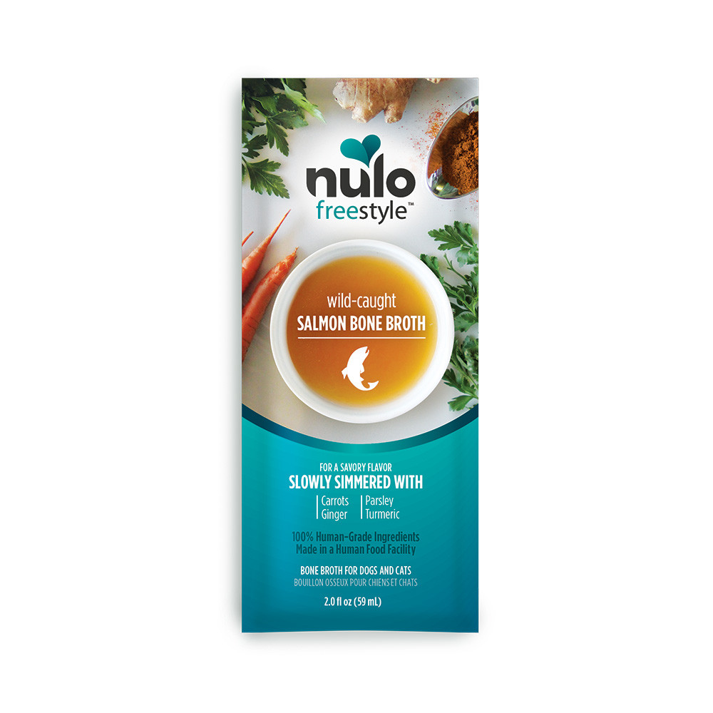 click here to shop Nulo Freestyle Wild-Caught Salmon Bone Broth for Dogs & Cats