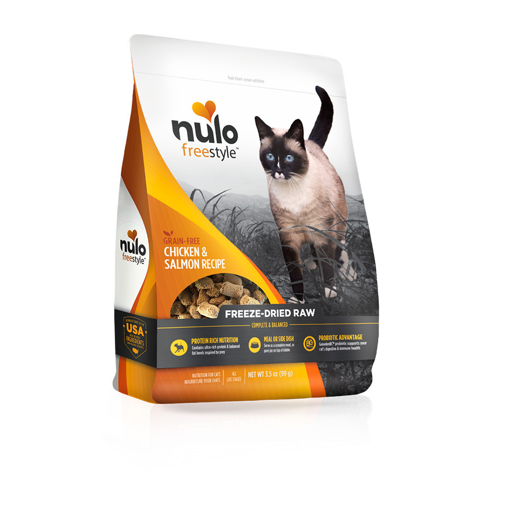 click here to shop Nulo Freestyle Chicken & Salmon Recipe Freeze-Dried Raw Cat Food