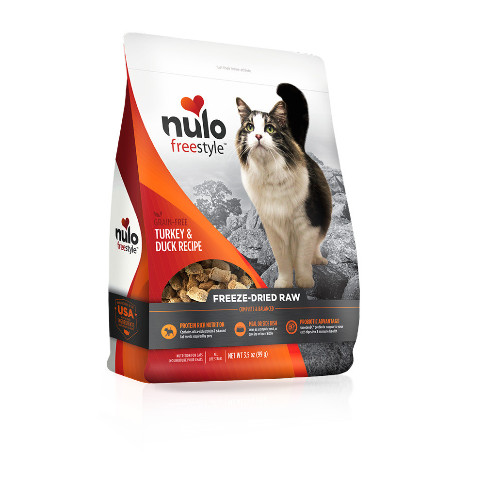click here to shop Nulo Freestyle Turkey & Duck Recipe Freeze-Dried Raw Cat Food