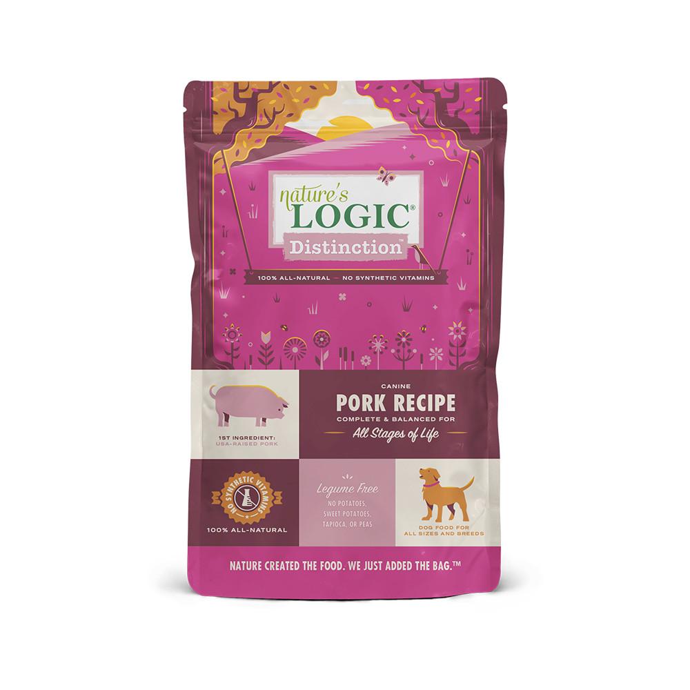 click here to shop Nature's Logic Distinction Pork Recipe Dry Dog Food.