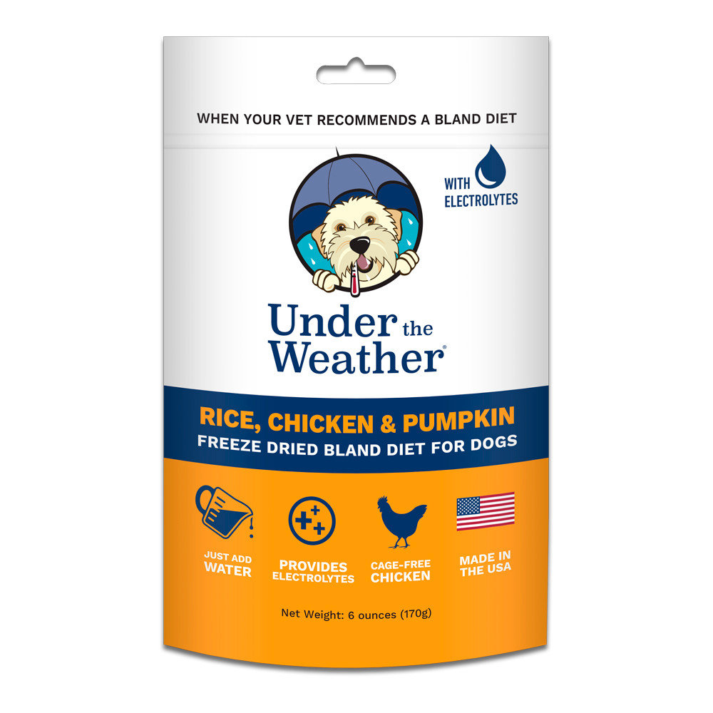 click here to shop Under The Weather Rice, Chicken & Pumpkin Freeze Dried Bland Dog Food