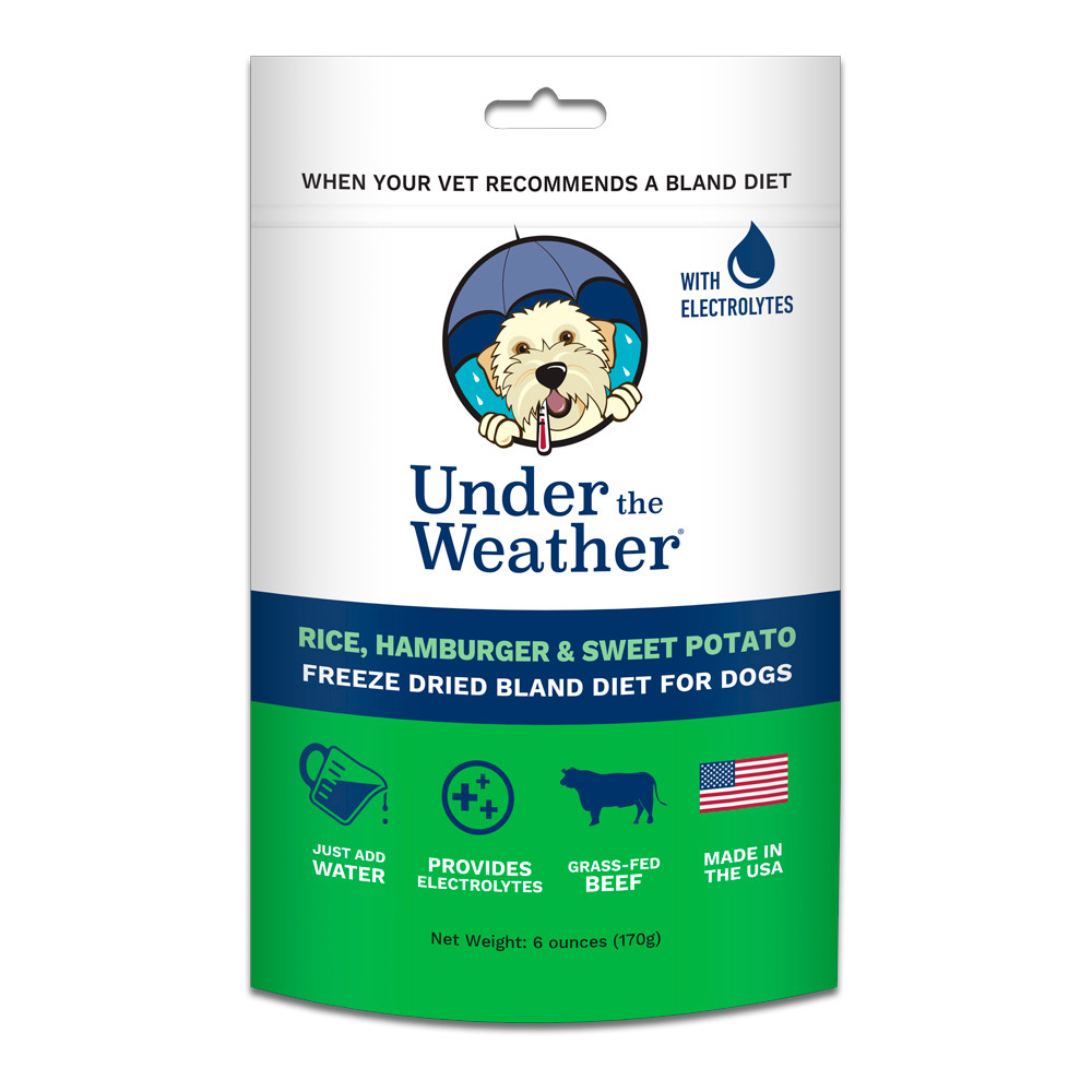 click here to shop Under The Weather Rice, Hamburger & Sweet Potato Freeze Dried Bland Dog Food