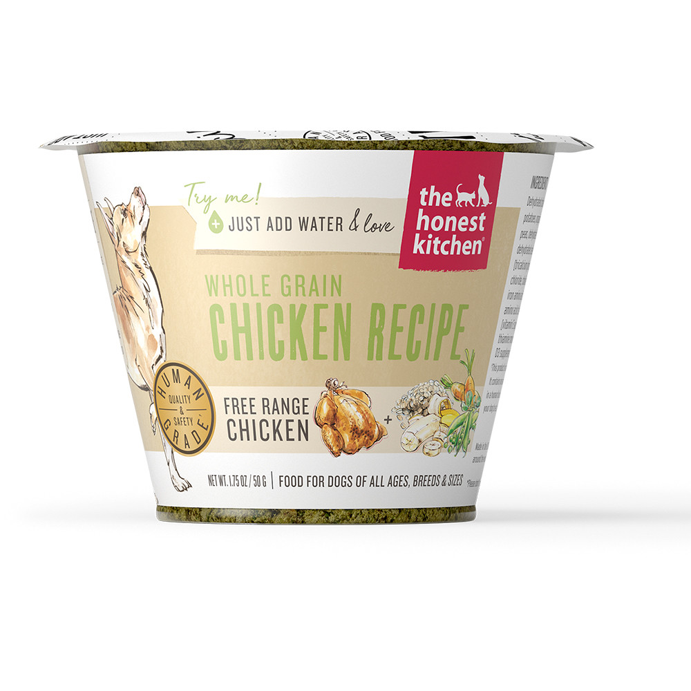 click here to shop The Honest Kitchen Whole Grain Chicken Recipe (Revel) Dehydrated Dog Food.
