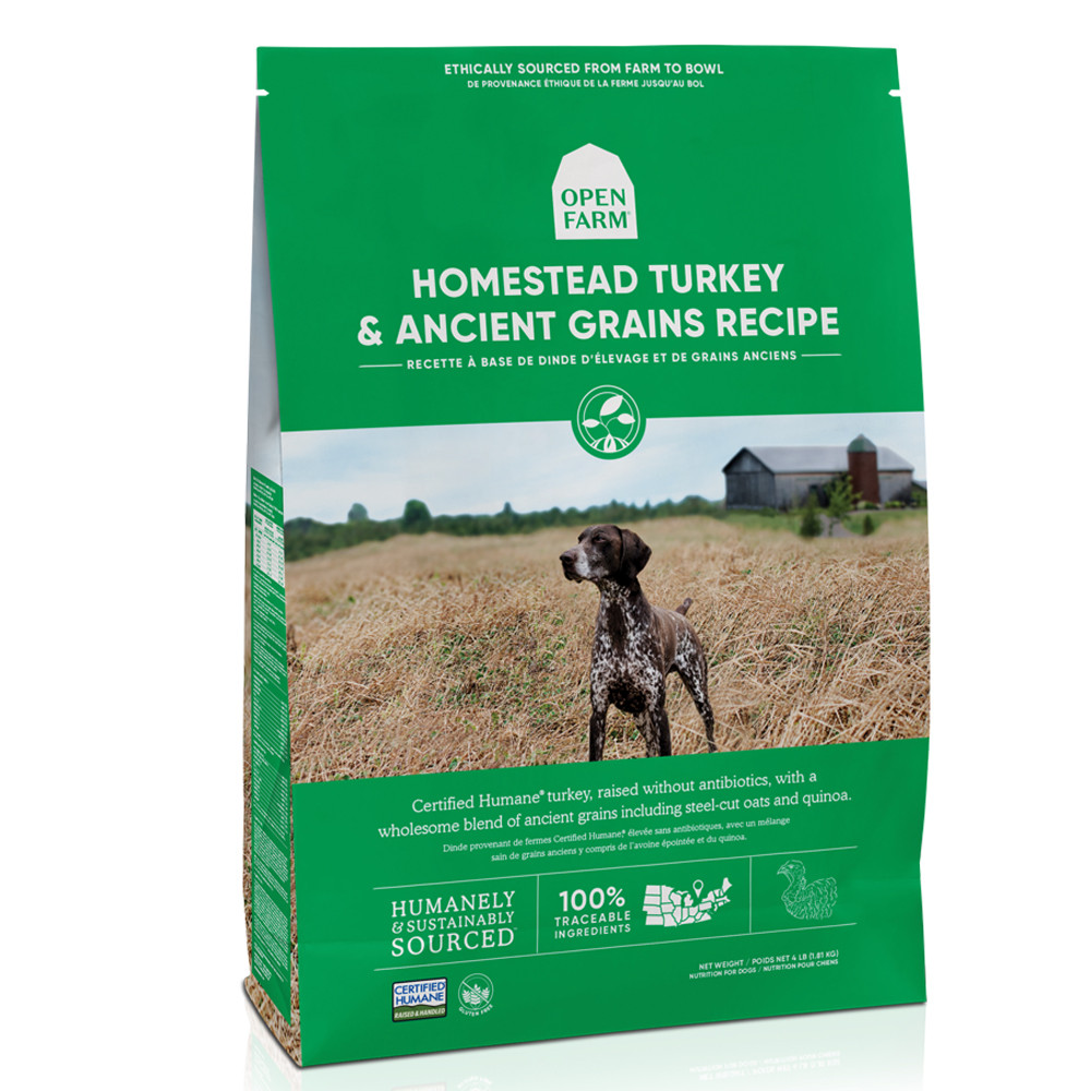 click here to shop Open Farm Homestead Turkey & Ancient Grains Recipe Dry Dog Food.