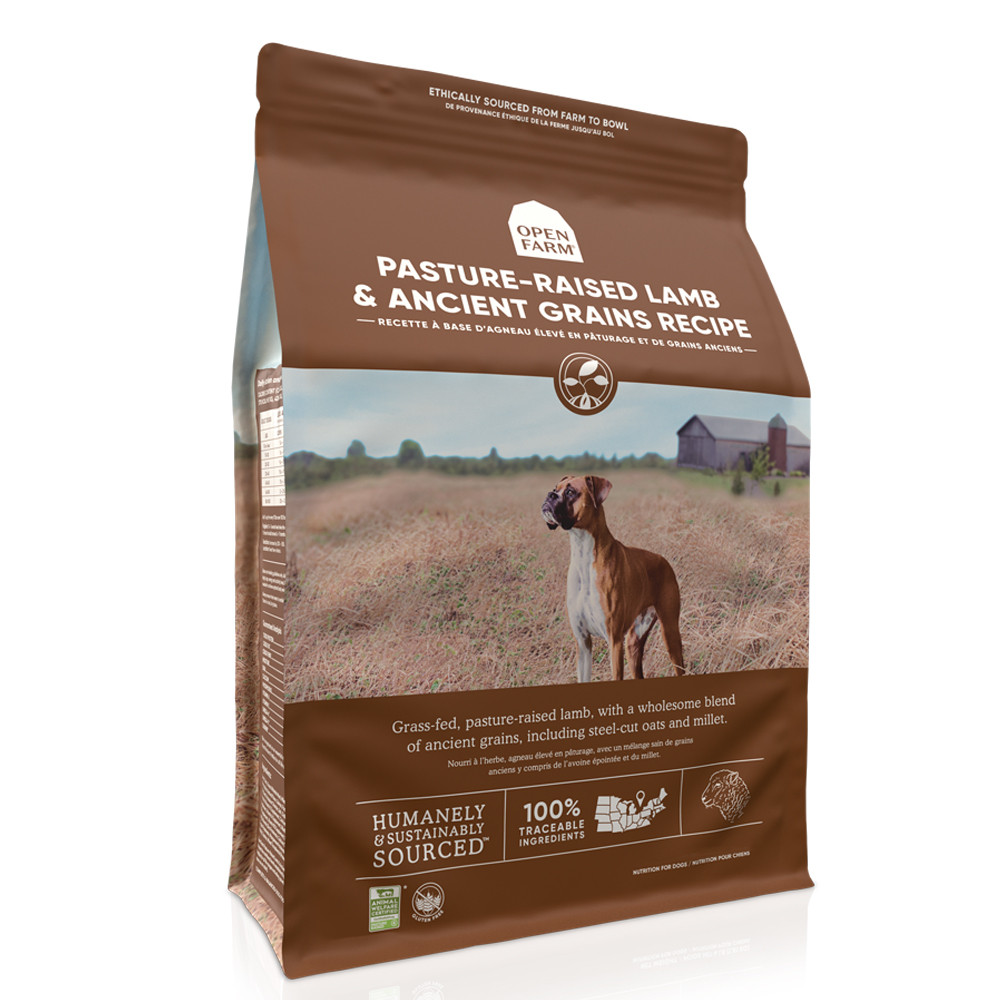 click here to shop Open Farm Pasture-Raised Lamb & Ancient Grains Dry Dog Food