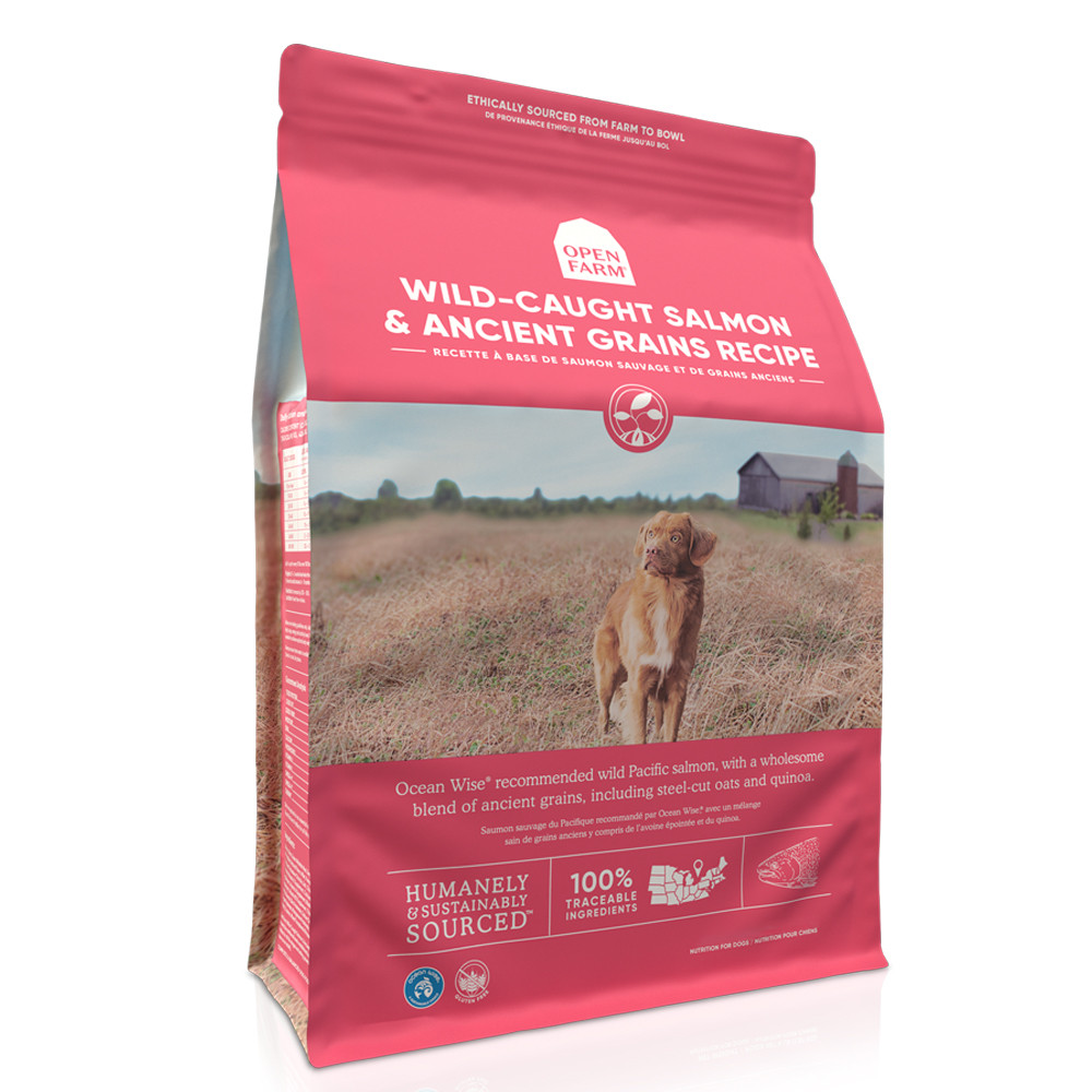 click here to shop Open Farm Wild-Caught Salmon & Ancient Grains Dry Dog Food.