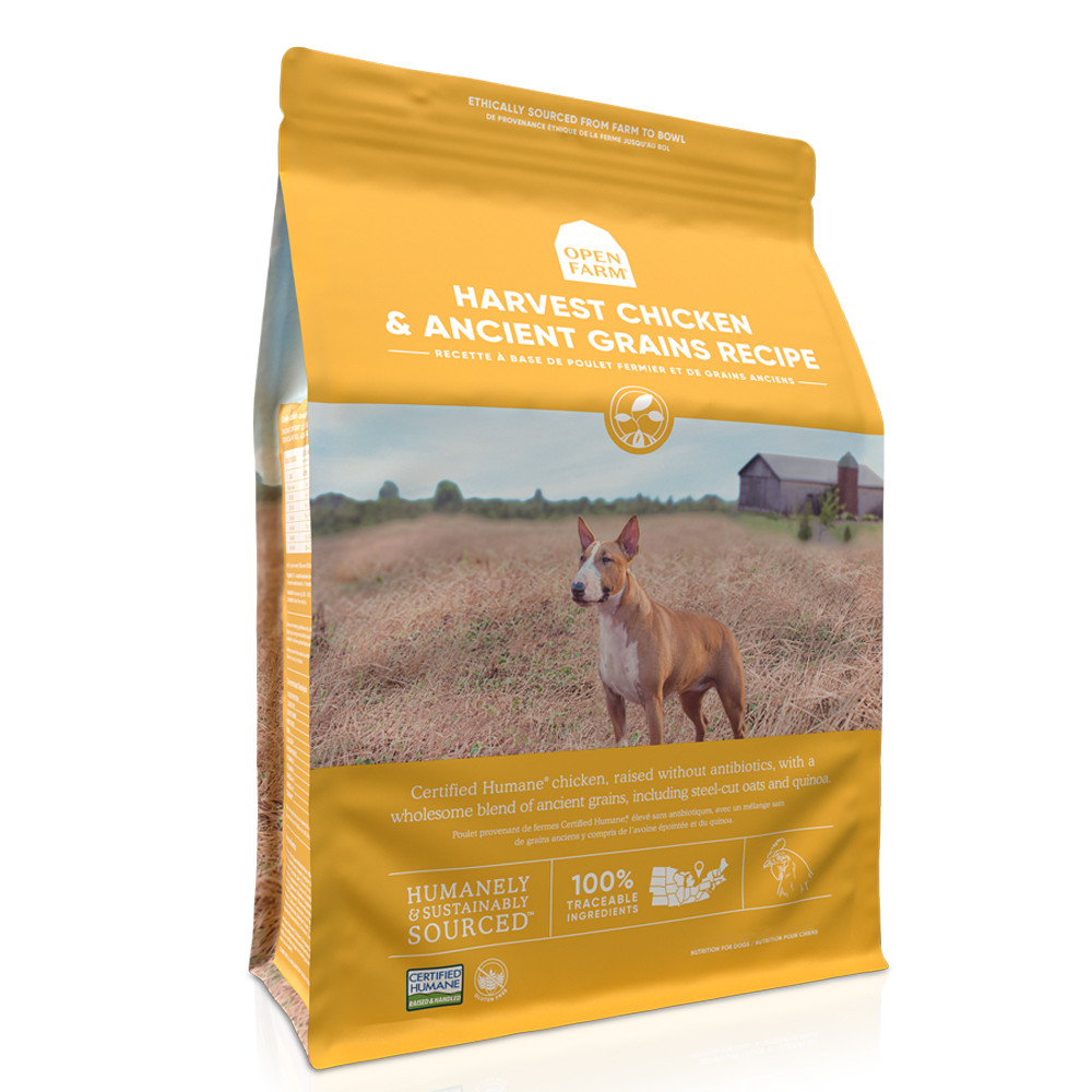 click here to shop Open Farm Harvest Chicken & Ancient Grains Dry Dog Food.