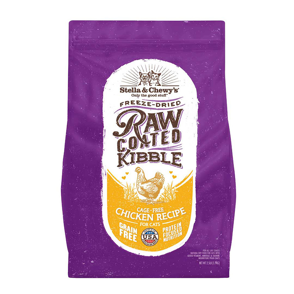 click here to shop Stella & Chewy's Raw Coated Kibble Cage-Free Chicken Recipe Dry Cat Food