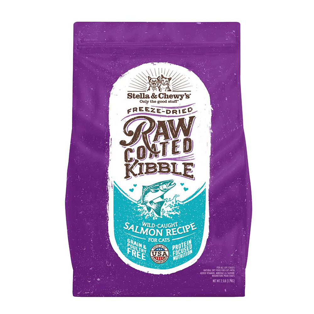 click here to shop Stella & Chewy's Raw Coated Kibble Wild-Caught Salmon Recipe Dry Cat Food