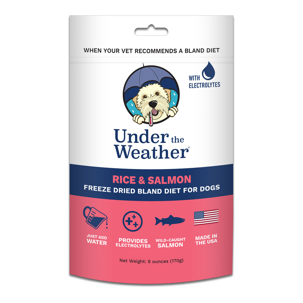 click here to shop Under The Weather Rice & Salmon Freeze Dried Bland Dog Food
