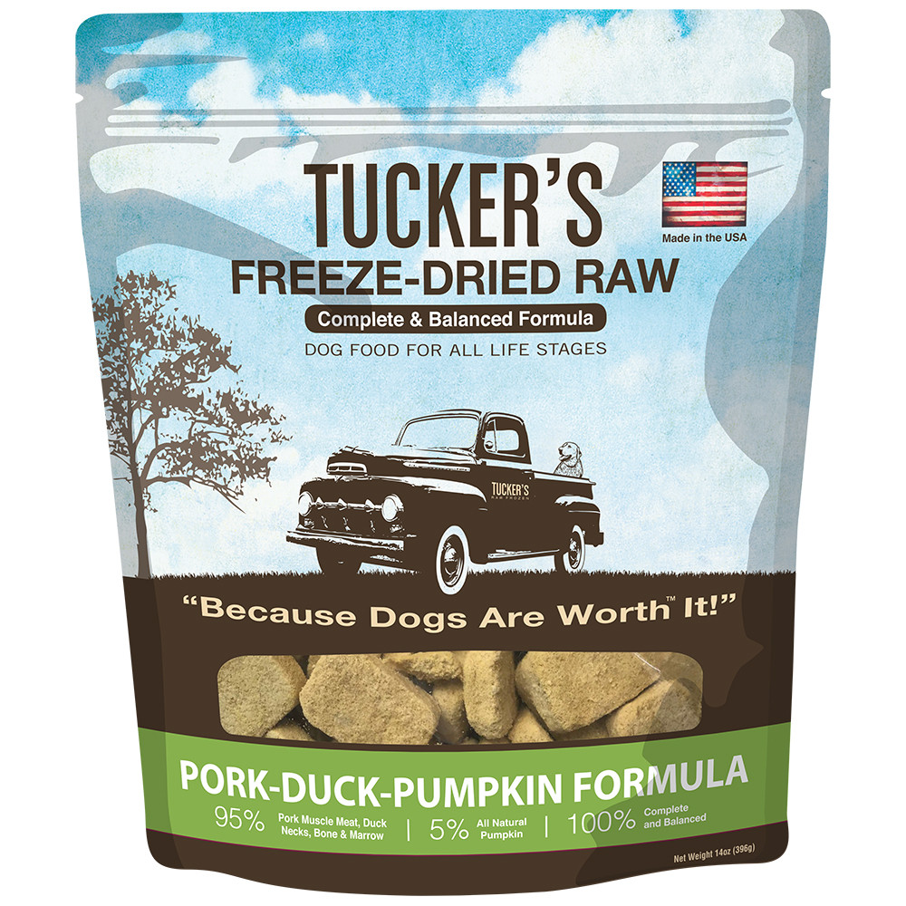 click here to shop Tucker's Freeze-Dried Raw Pork-Duck-Pumpkin Formula Dog Food