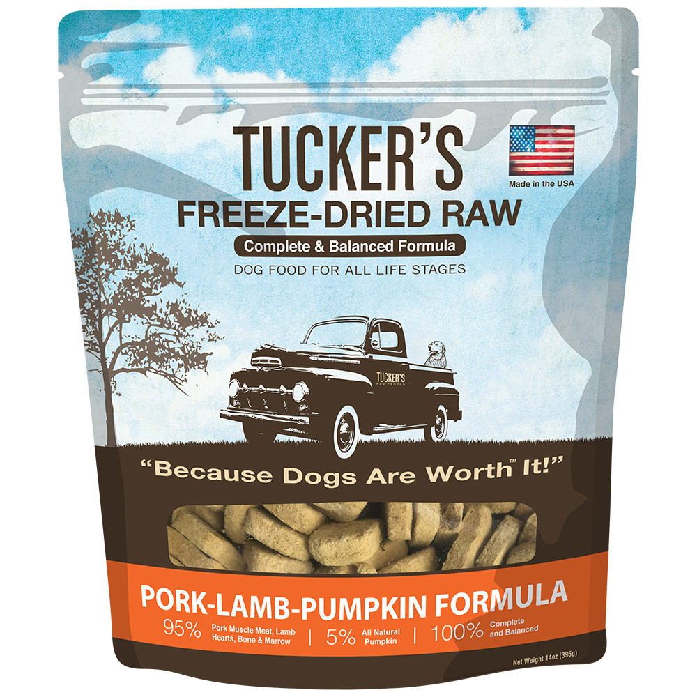 click here to shop Tucker's Freeze-Dried Raw Pork-Lamb-Pumpkin Dog Food