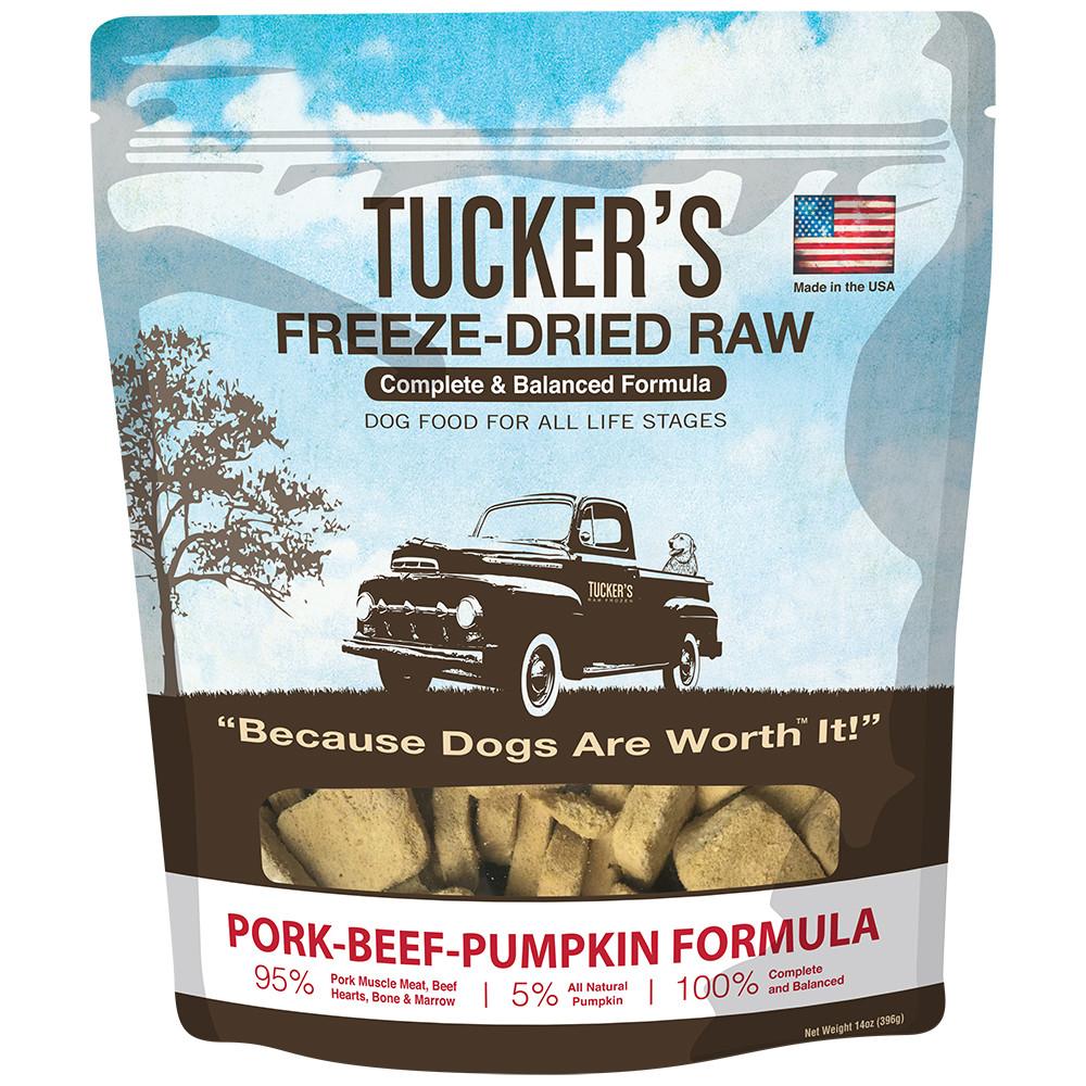 click here to shop Tucker's Freeze-Dried Raw Pork-Beef-Pumpkin Formula Dog Food.