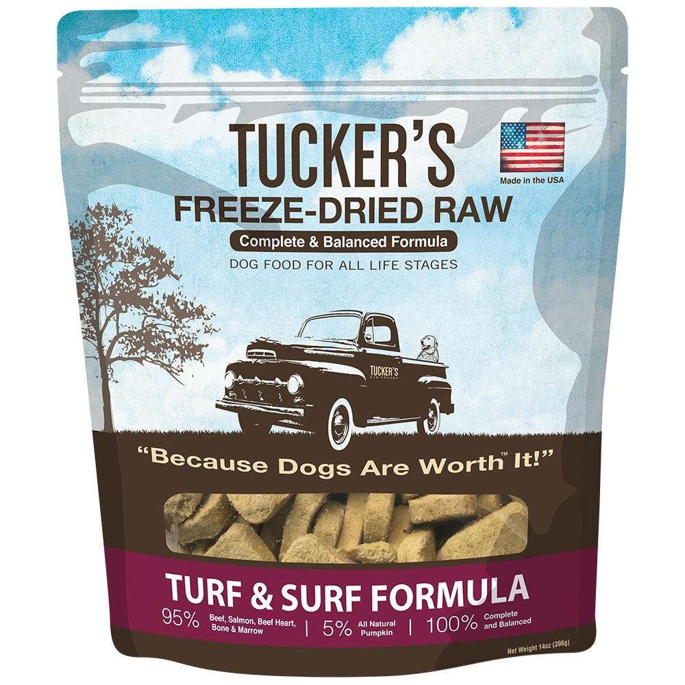 click here to shop Tucker's Freeze-Dried Raw Turf & Surf Formula Dog Food