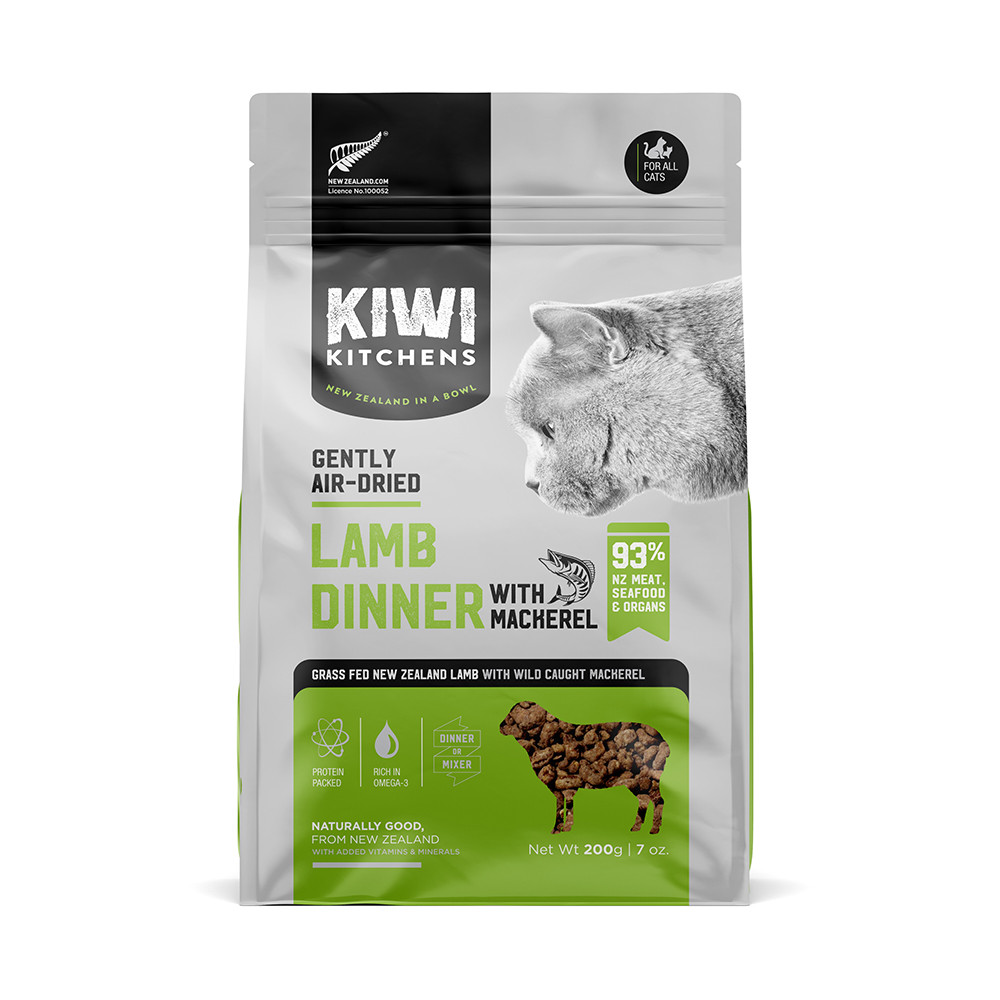 click here to shop Kiwi Kitchens Gently Air-Dried Lamb Dinner With Mackerel Cat Food