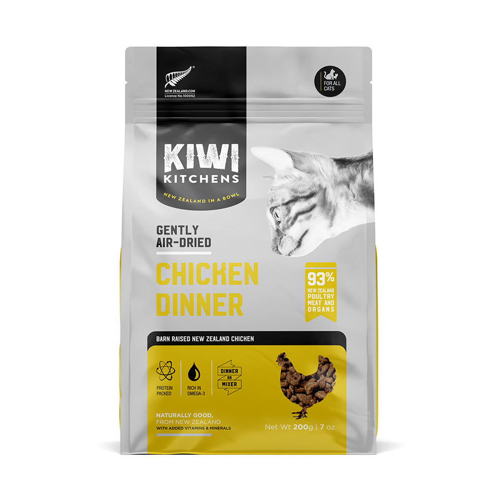 click here to shop Kiwi Kitchens Gently Air-Dried Chicken Dinner Cat Food.
