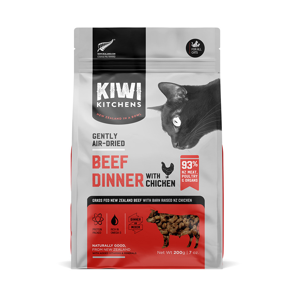 click here to shop Kiwi Kitchens Gently Air-Dried Beef Dinner With Chicken Cat Food