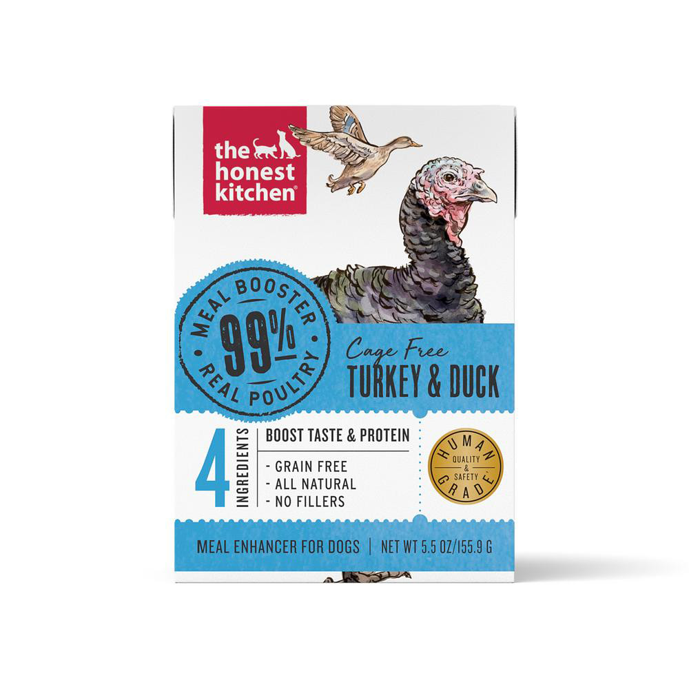 click here to shop The Honest Kitchen Meal Booster 99% Turkey & Duck Protein Dog Food Topper
