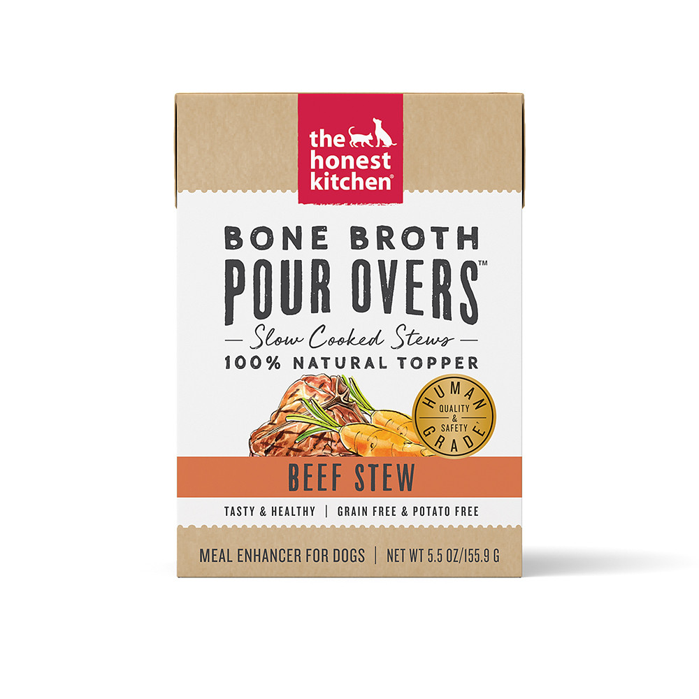 click here to shop The Honest Kitchen Bone Broth Pour Overs Beef Stew Dog Food Topper