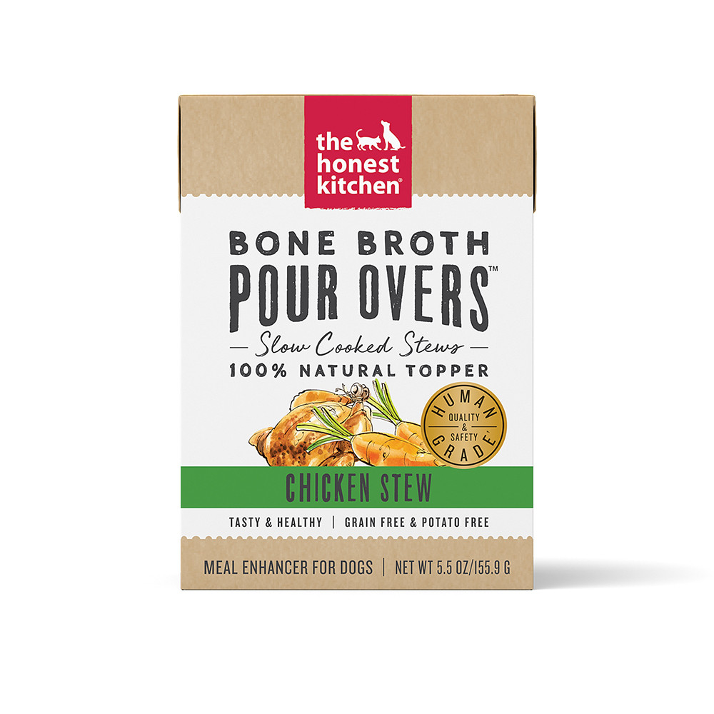 click here to shop The Honest Kitchen Bone Broth Pour Overs Chicken Stew Dog Food Topper.