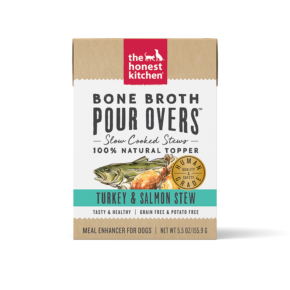click here to shop The Honest Kitchen Bone Broth Pour Overs Turkey & Salmon Stew Dog Food Topper