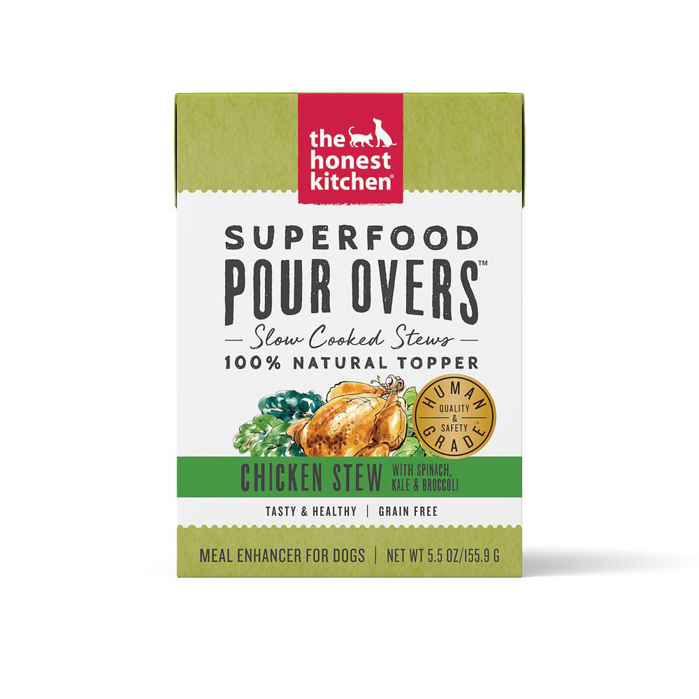 click here to shop The Honest Kitchen Superfood Pour Overs Chicken Stew Dog Food Topper.