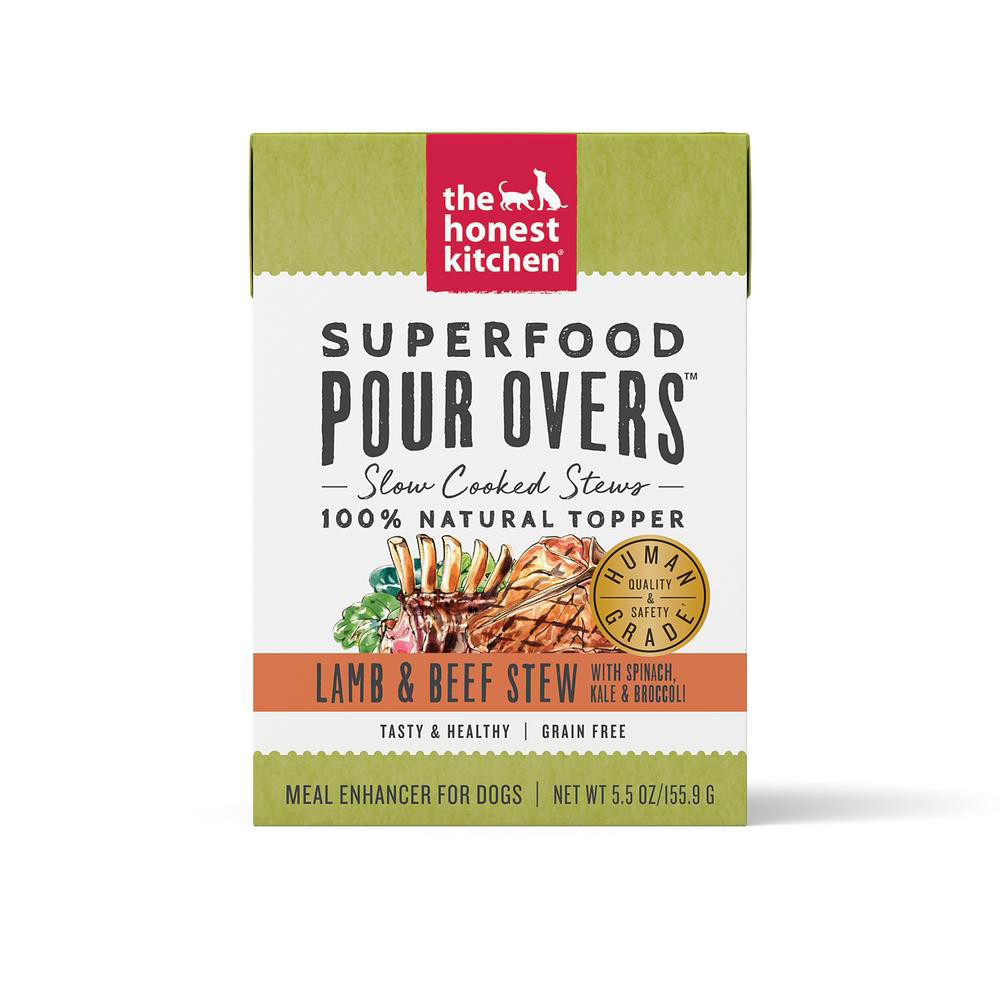 click here to shop The Honest Kitchen Superfood Pour Overs Lamb & Beef Stew Dog Food Topper
