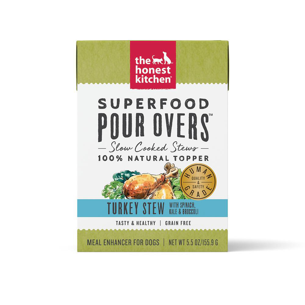 click here to shop The Honest Kitchen Superfood Pour Overs Turkey Stew Dog Food Topper