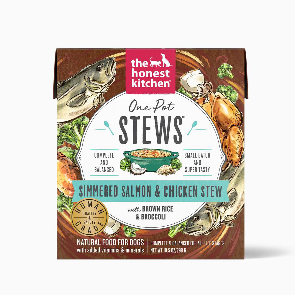 click here to shop The Honest Kitchen One Pot Stews Salmon & Chicken Wet Dog Food.