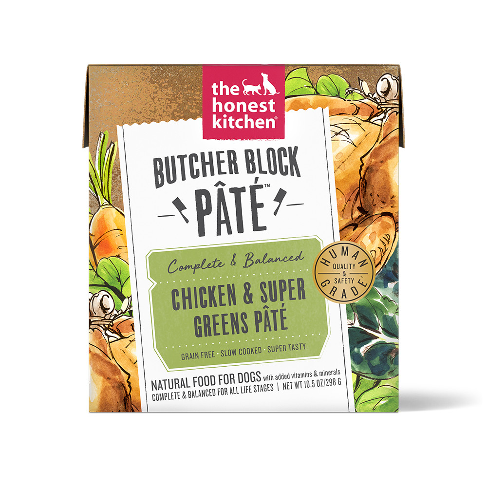 click here to shop The Honest Kitchen Butcher Block Pate Chicken & Super Greens Wet Dog Food.