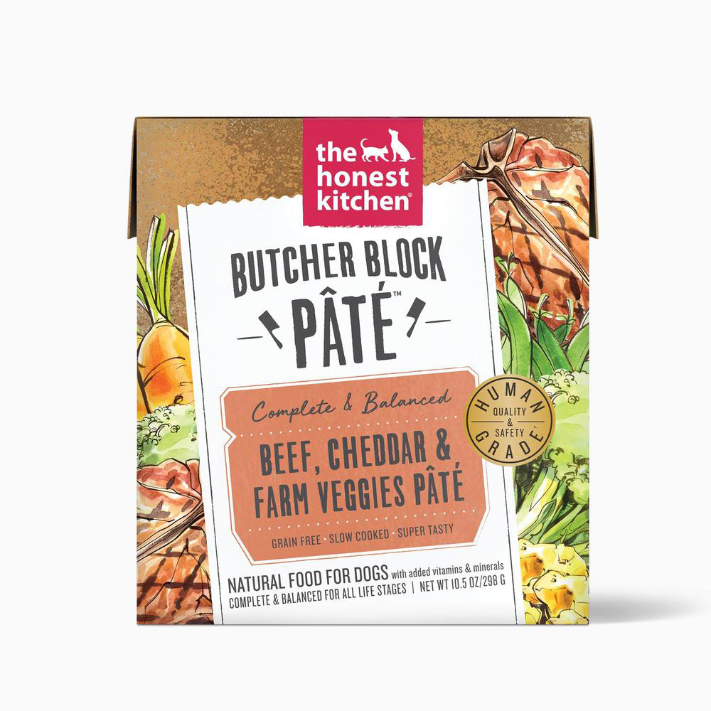 click here to shop The Honest Kitchen Butcher Block Pate Beef, Cheddar & Farm Veggies Wet Dog Food