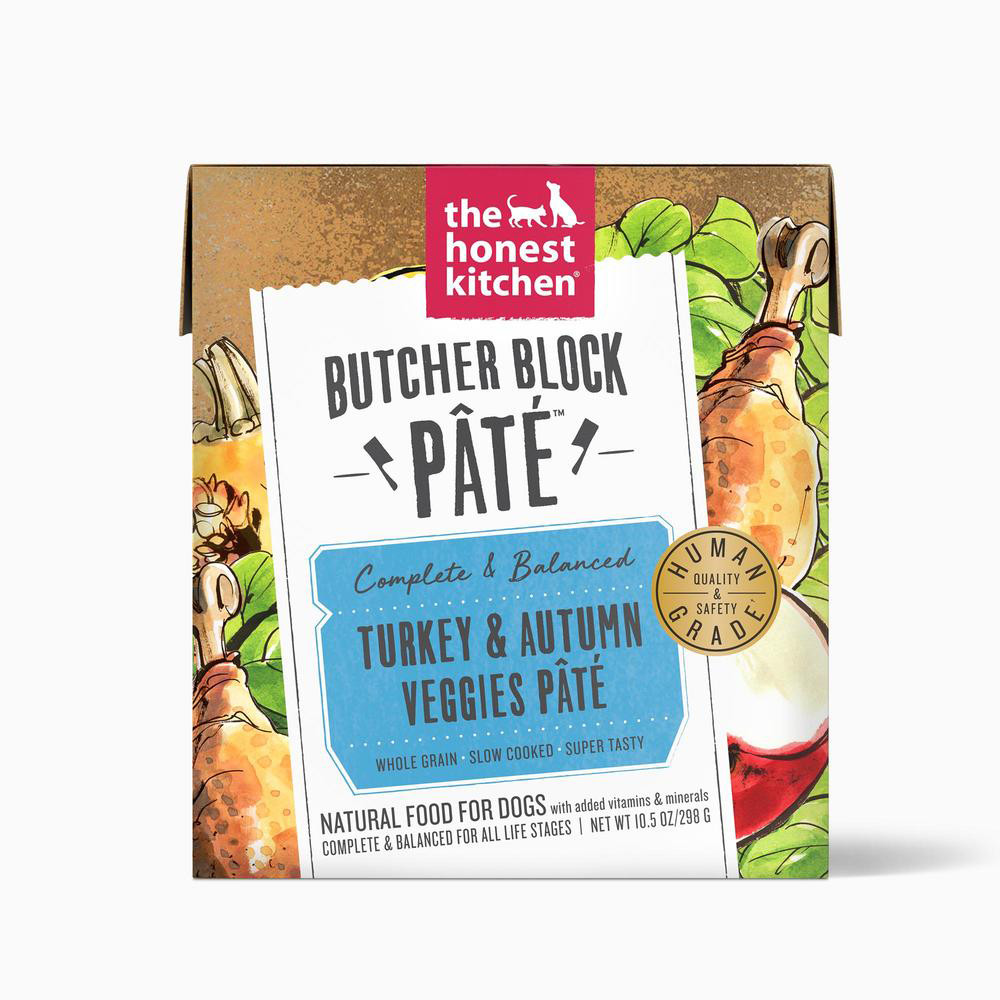 click here to shop The Honest Kitchen Butcher Block Pate Turkey & Autumn Veggies Wet Dog Food