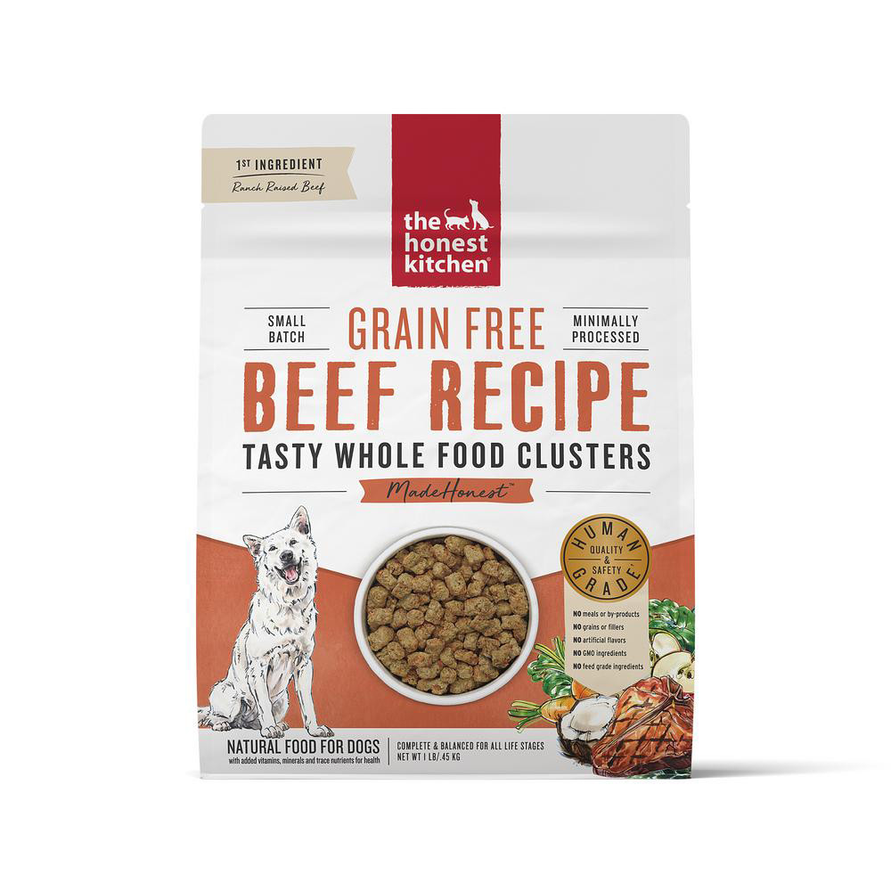 click here to shop The Honest Kitchen Whole Food Clusters Grain Free Beef Recipe Dry Dog Food.