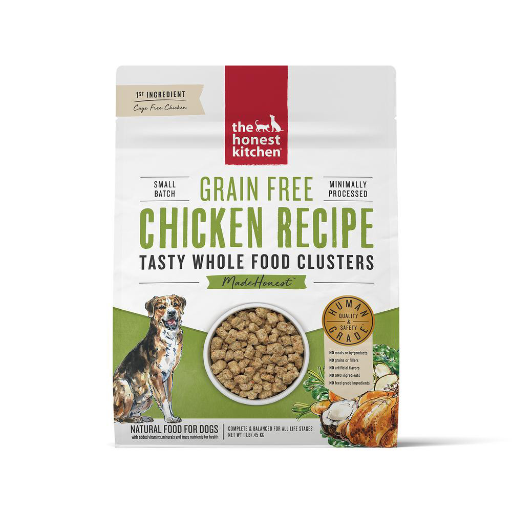 click here to shop The Honest Kitchen Whole Food Clusters Grain Free Chicken Recipe Dry Dog Food.