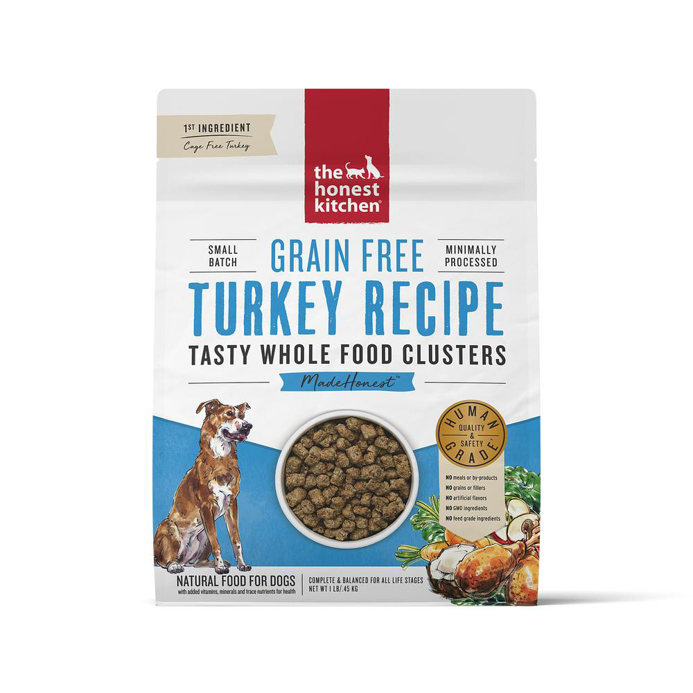 click here to shop The Honest Kitchen Whole Food Clusters Grain Free Turkey Recipe Dry Dog Food