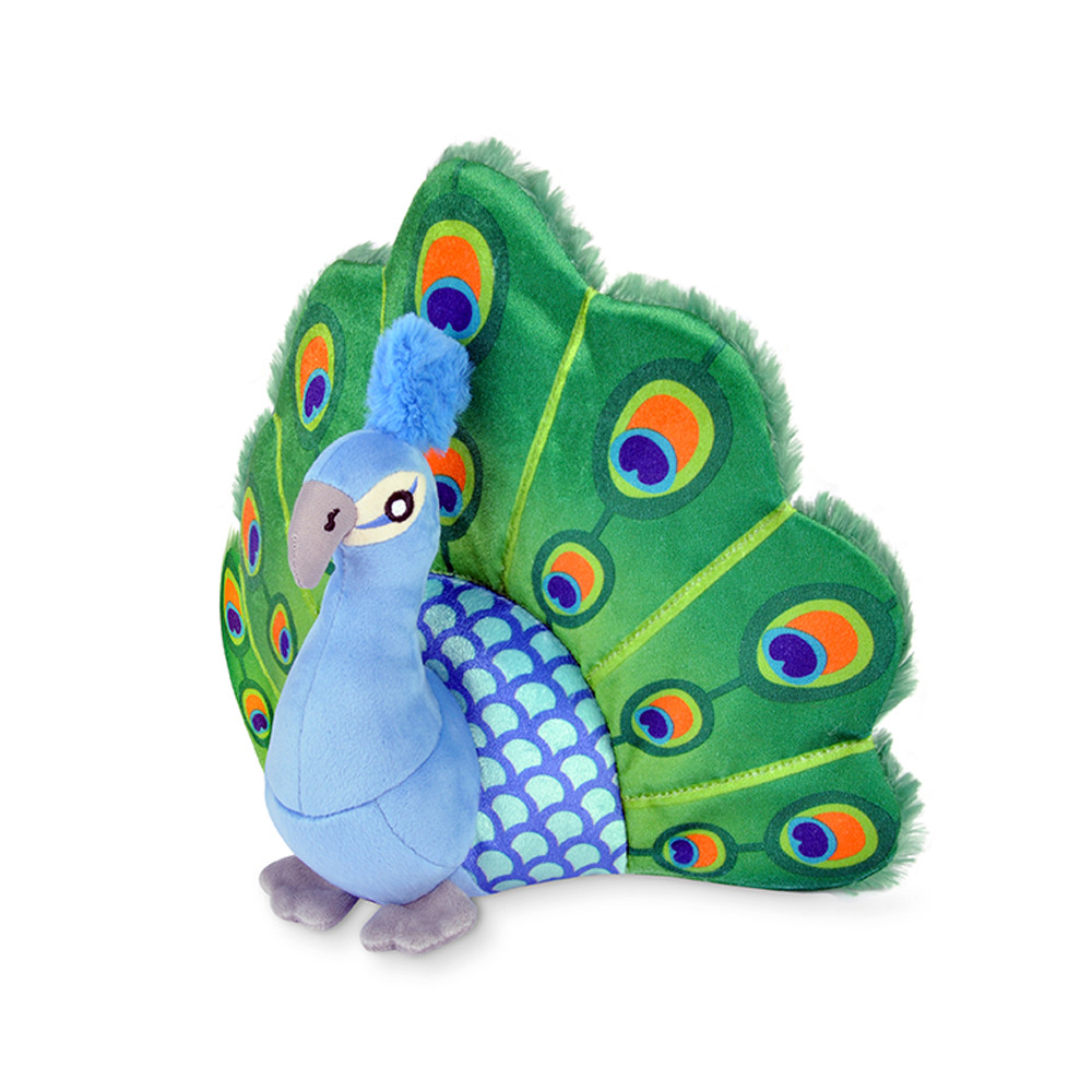 click here to shop P.L.A.Y. Fletching Flock Percy The Peacock Plush Dog Toy