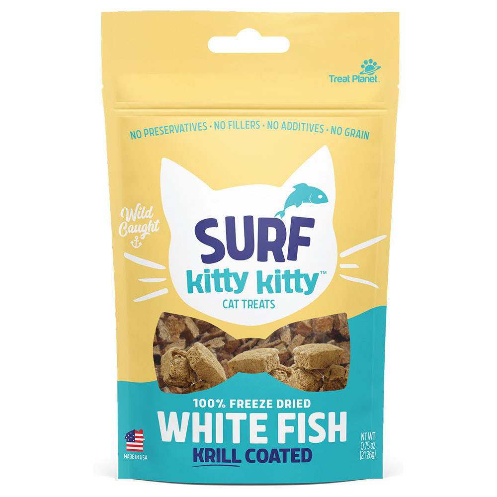 click here to shop Surf Kitty Kitty White Fish Krill Coated Freeze Dried Cat Treats