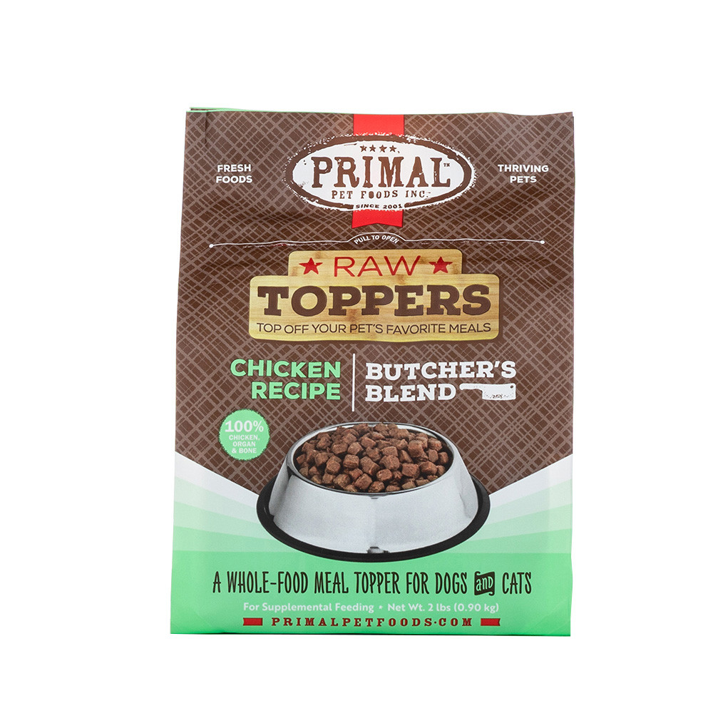 click here to shop Raw Toppers Butcher's Blend Chicken Recipe Frozen Meal Topper for Dogs & Cats.