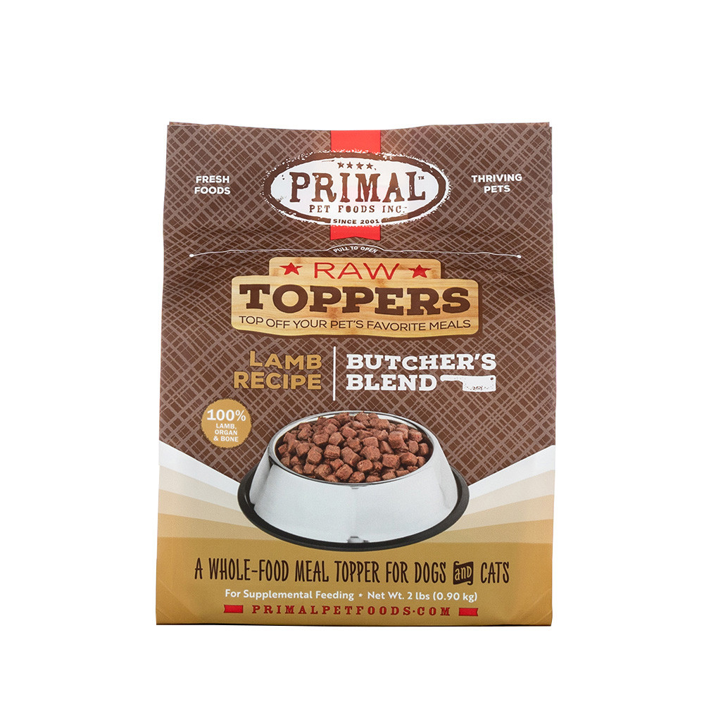 click here to shop Raw Toppers Butcher's Blend Lamb Recipe Frozen Meal Topper for Dogs & Cats
