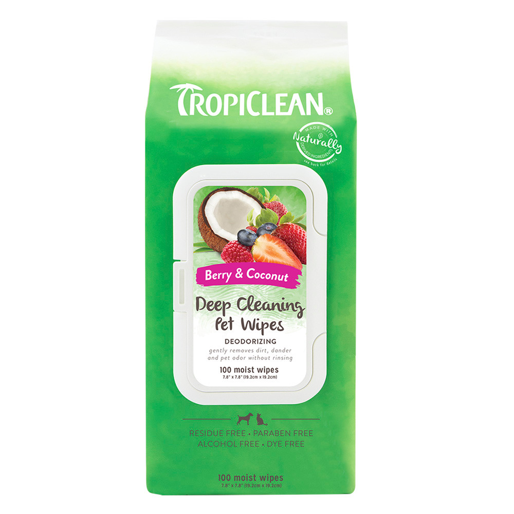 click here to shop TropiClean Deep Cleaning Cat & Dog Wipes.
