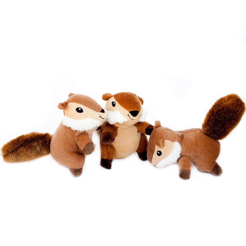 click here to shop ZippyPaws Miniz Chipmunks Plush Squeaky Dog Toy