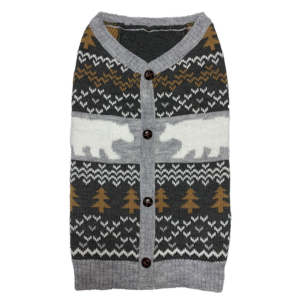 click here to shop Friends Forever Gray Patterned Bear Dog Sweater