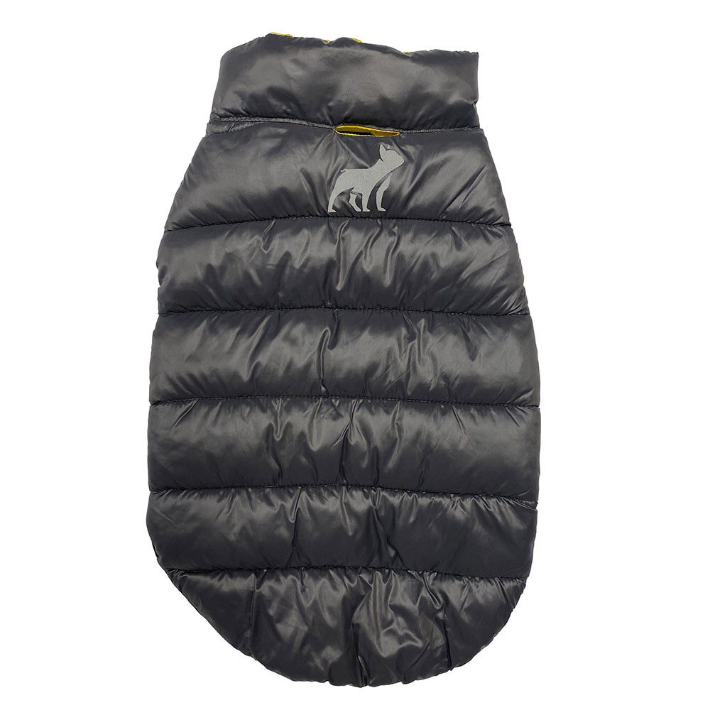 click here to shop Fetch Your Own Adventure Reversible Yellow & Gray Puffer Dog Coat.