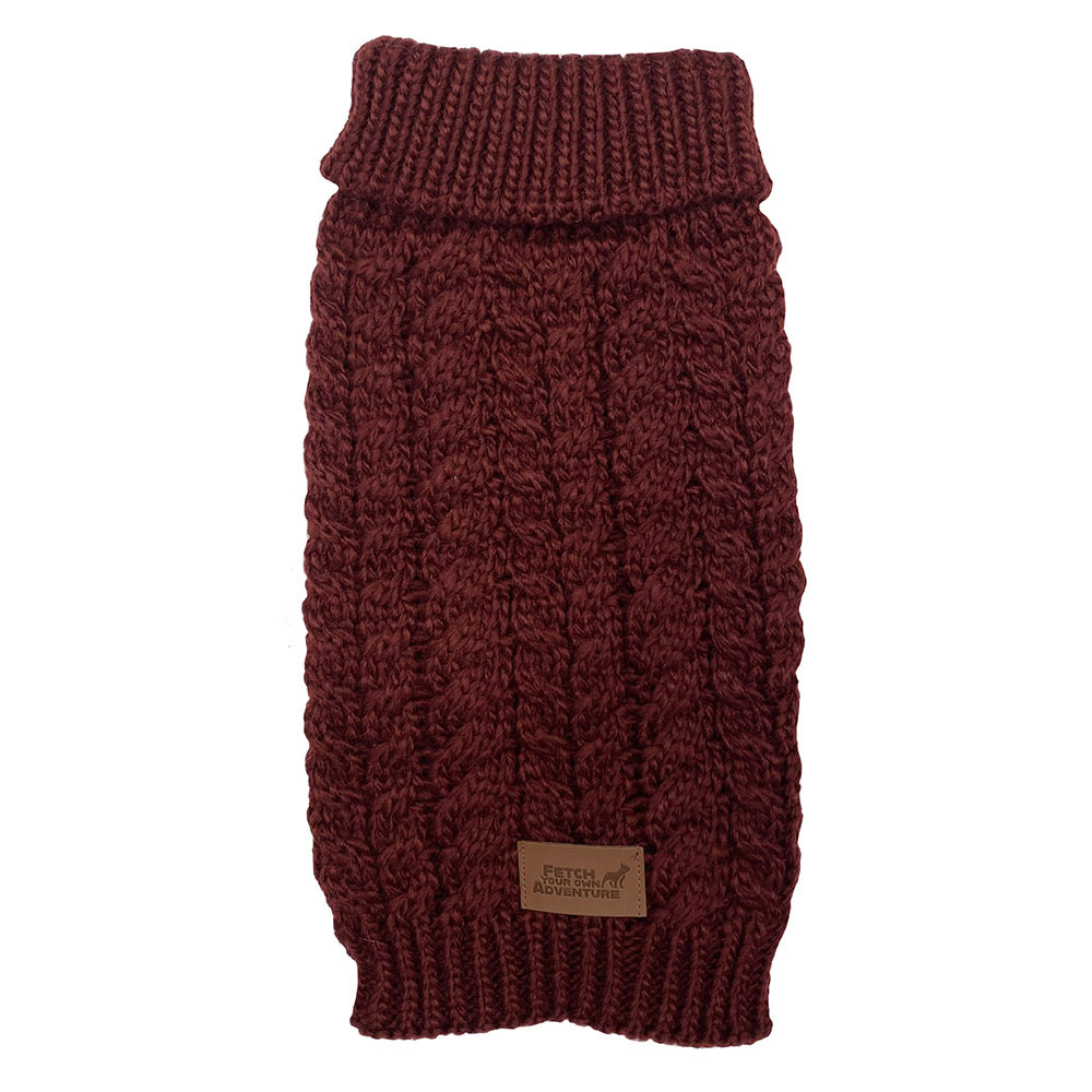 click here to shop  Fetch Your Own Adventure Wool Maroon Dog Sweater
