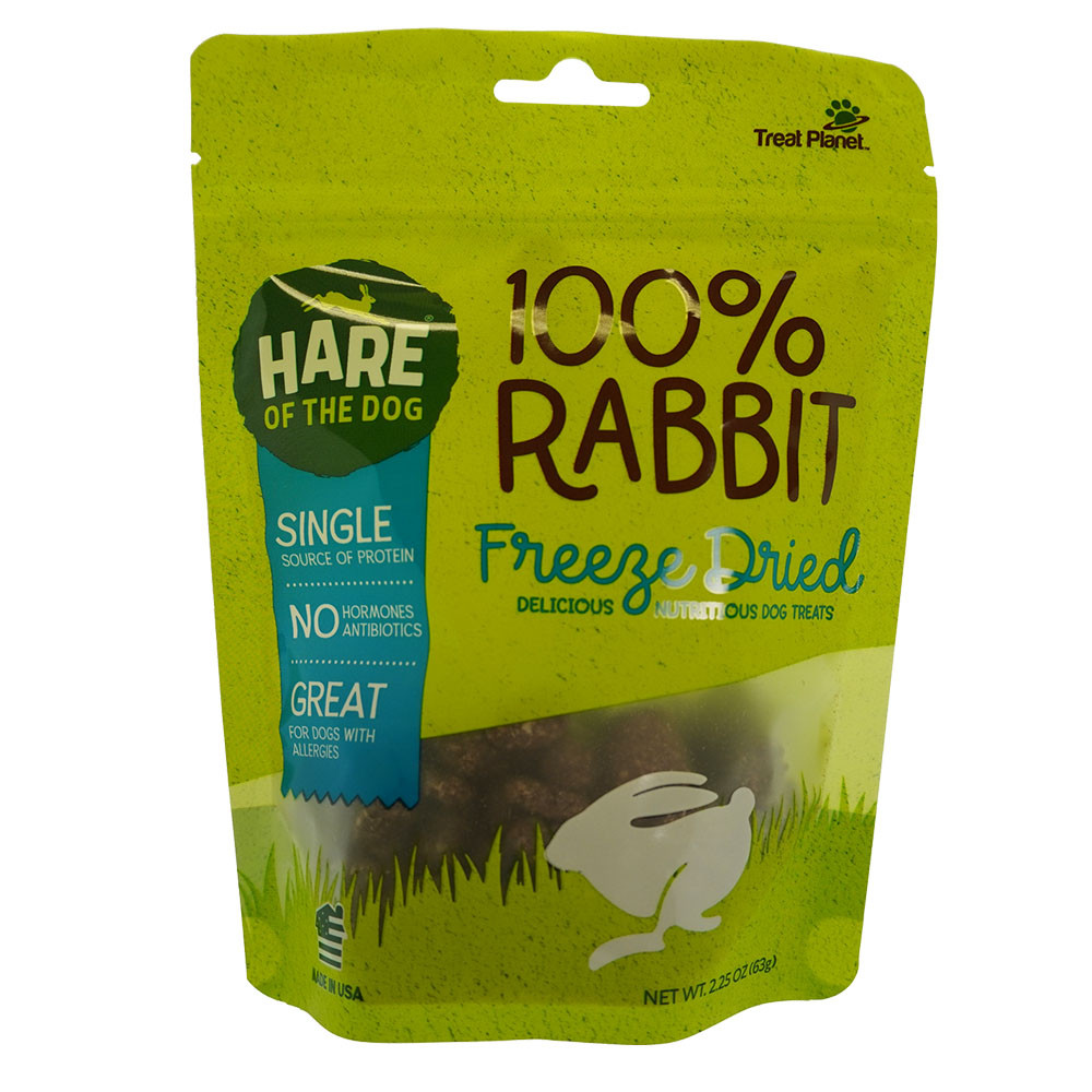 click here to shop Hare of the Dog 100% Rabbit Freeze Dried Dog Treats.