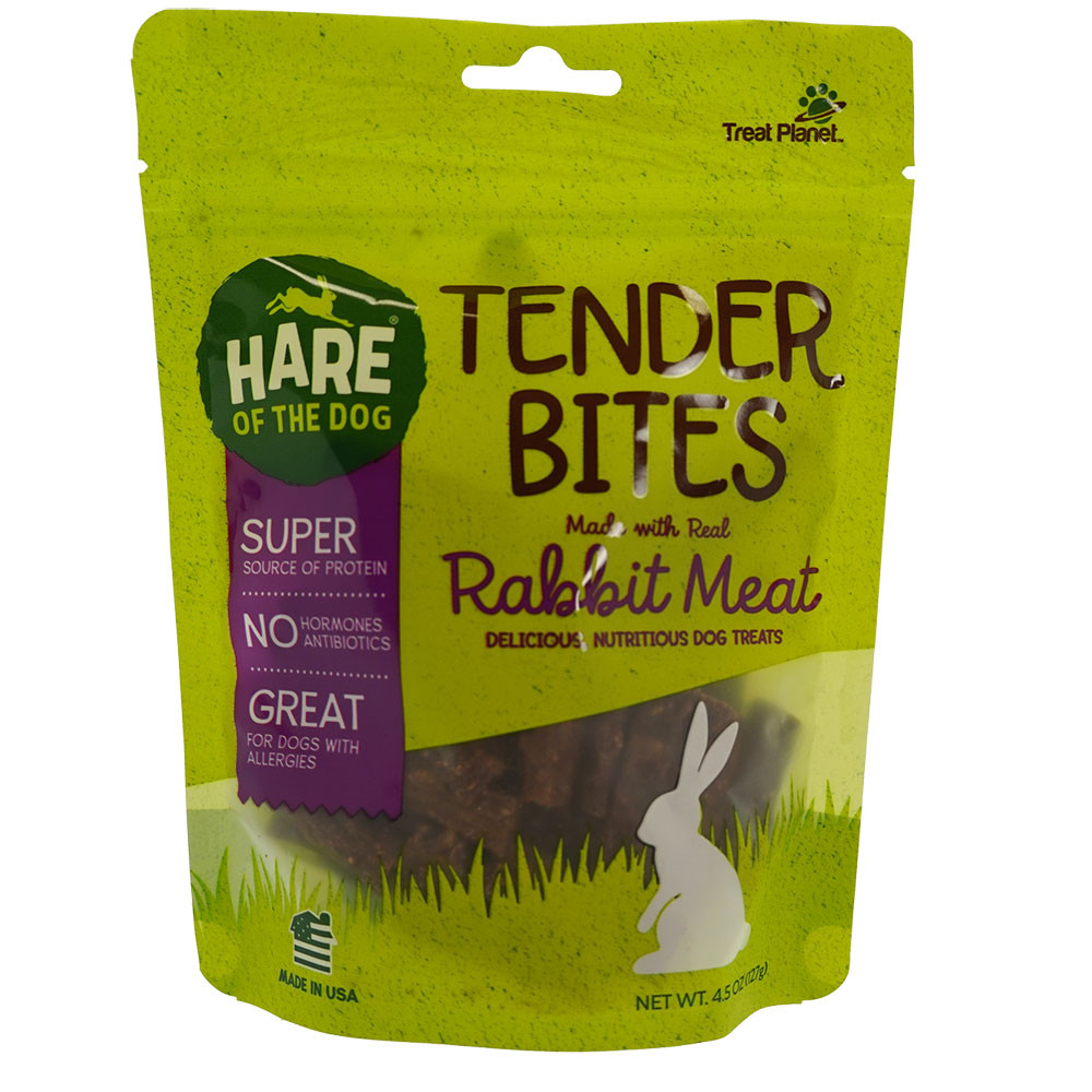 click here to shop Hare of the Dog Tender Bites Rabbit Meat Dog Treats