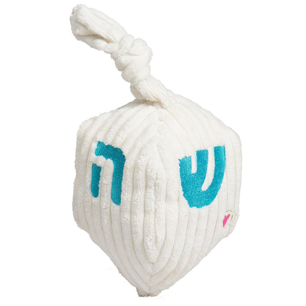 click here to shop HuggleHounds Hanukkah Dreidel Plush Dog Toy