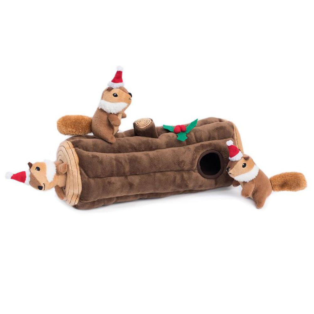 click here to shop ZippyPaws Christmas Zippy Burrow Yule Log Plush Puzzle Dog Toy