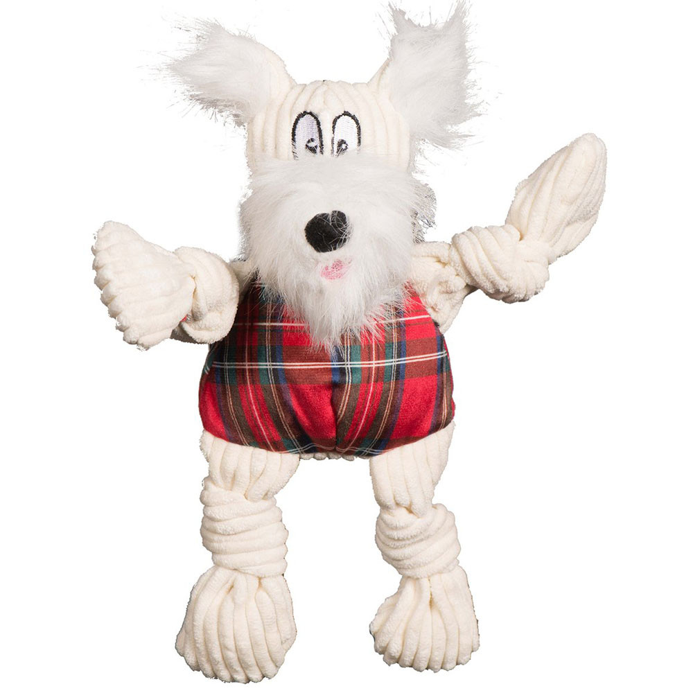 click here to shop HuggleHounds Christmas Knottie Totally Tartan Whiskey Westie Plush Dog Toy.