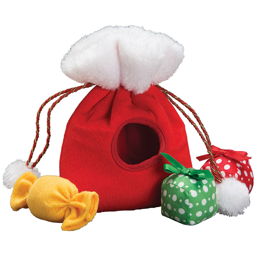click here to shop Patchwork Pet Holiday Santa Bag with Presents & Candy Plush Dog Toy